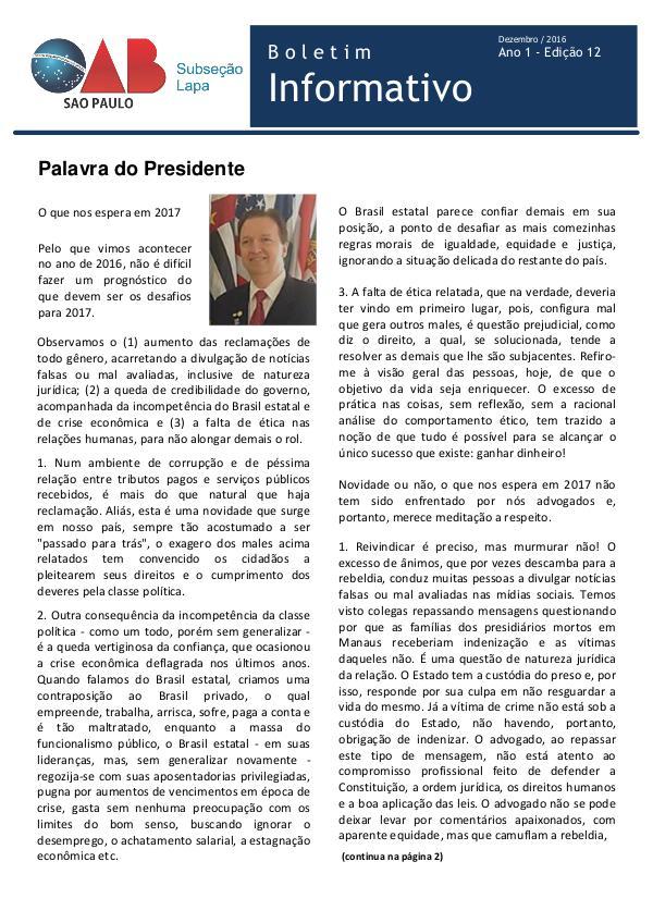 Boletim Informativo OAB Lapa Edição 12 - Dezembro 2016