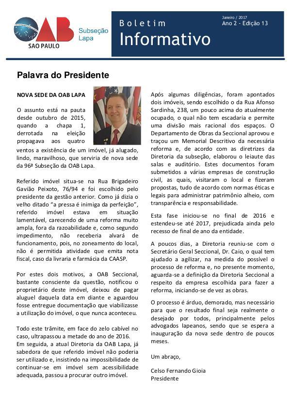 Boletim Informativo OAB Lapa Edição 13 - Janeiro 2017