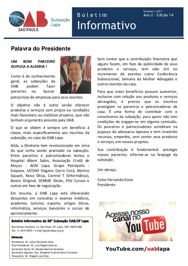 Boletim Informativo OAB Lapa Edição 14 - Fevereiro 2017