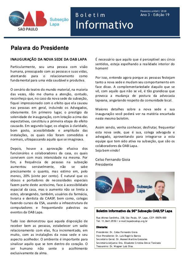 Boletim Informativo OAB Lapa Edição 19 - Fevereiro/Março e Abril/2018