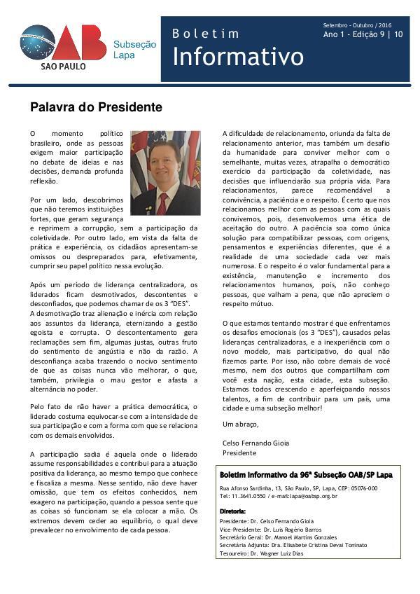 Boletim Informativo OAB Lapa Edição 09 / 10 - Setembro e Outubro de 2016
