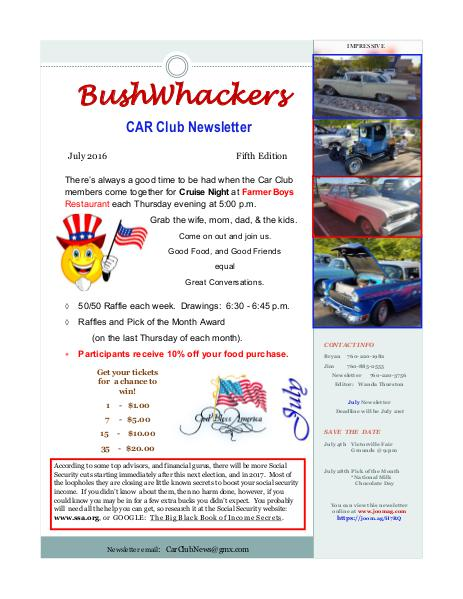BushWhackers Car Club Newsletter July 2016  Volume One