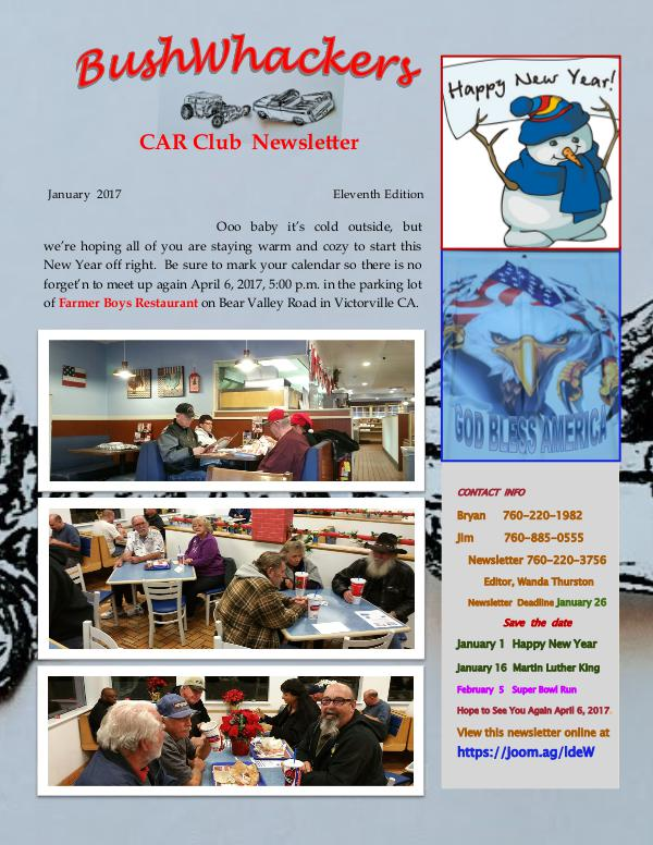 BushWhackers Car Club Newsletter January 2017 Edition