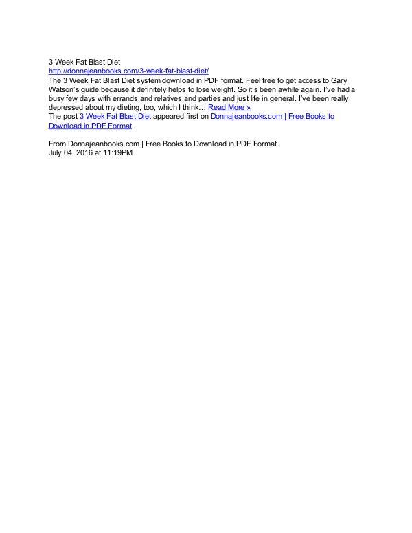 3 Week Fat Blast Diet PDF Ebook Download Free 2017