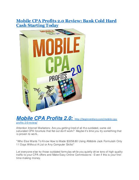 Mobile CPA Profits 2.0 review & massive +100 bonus items Mobile CPA Profits 2.0 review - (FREE) Jaw-drop bonuses