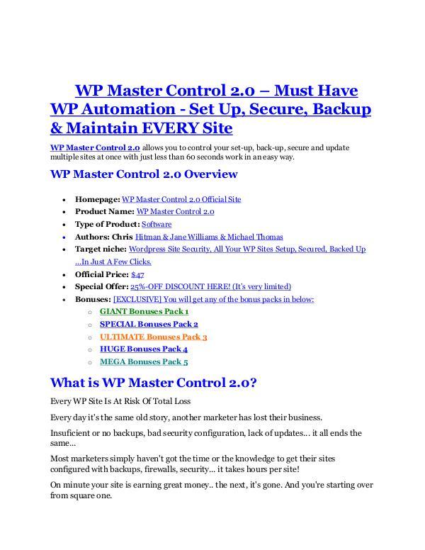 WP Master Control 2.0 Review - WP Master Control 2.0 +100 bonus items