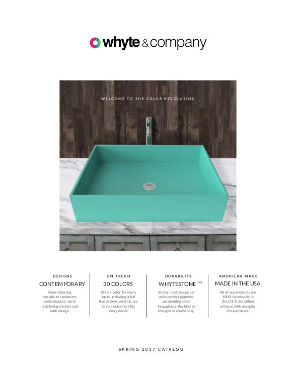 Whyte & Company | Contemporary Stone Composite Sinks | Spring 2017 Catalog
