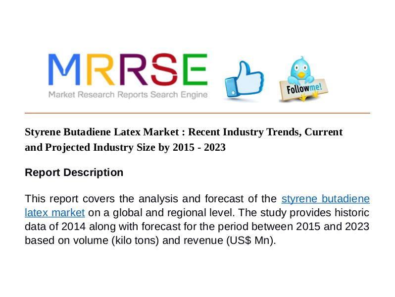 MRRSE Styrene Butadiene Latex Market : Recent Industry T