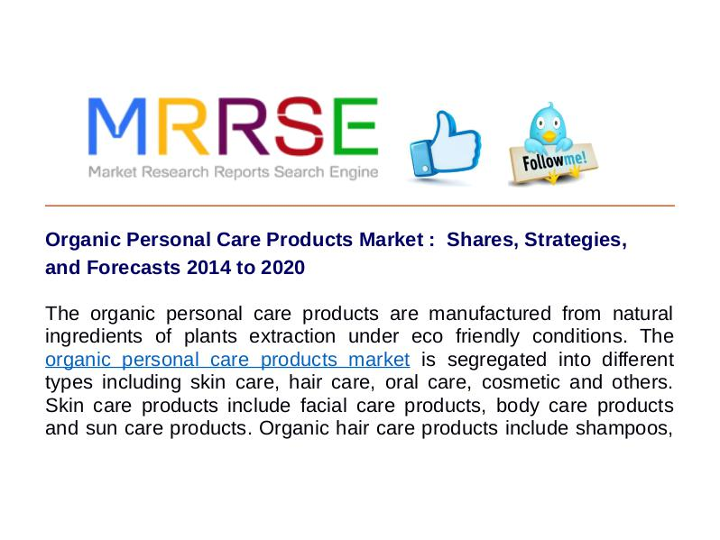 MRRSE Organic Personal Care Products Market
