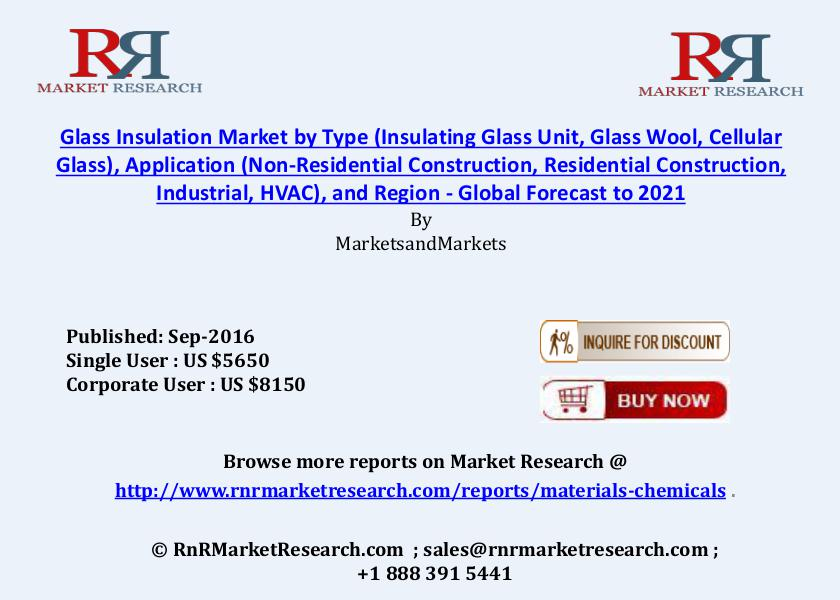 Glass Insulation Market: Global Forecasts to 2021 Sep 2016