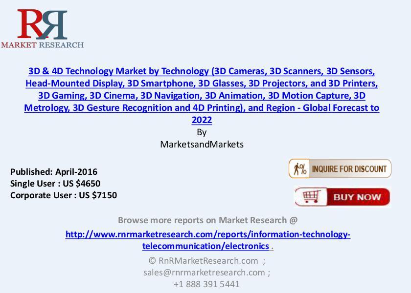 3D & 4D Technology Market: Global Forecast 2016 to 2022 Sept 2016