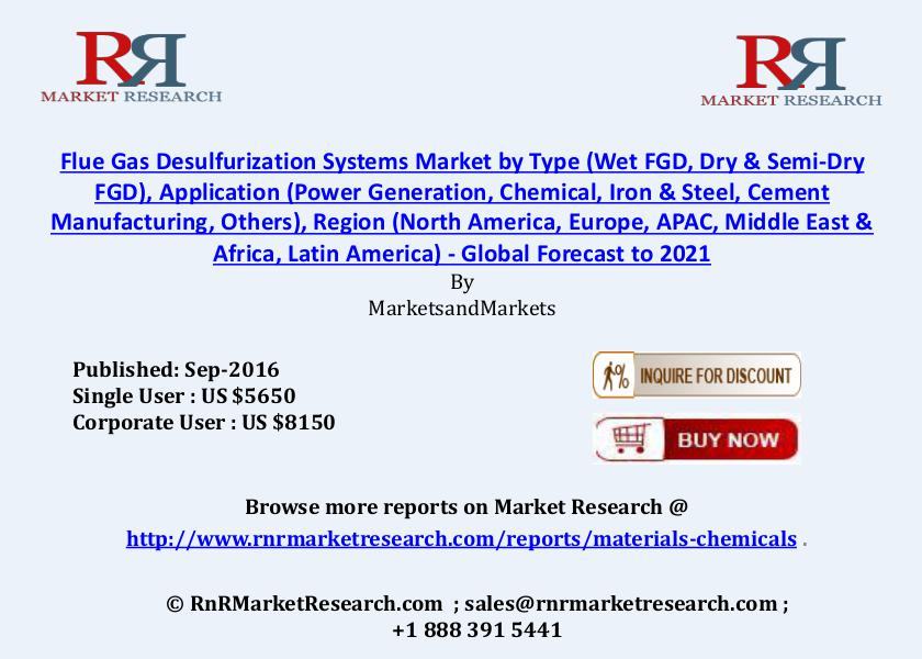 Flue Gas Desulfurization Systems Market Increasing at a CAGR of 5.7% Sep 2016