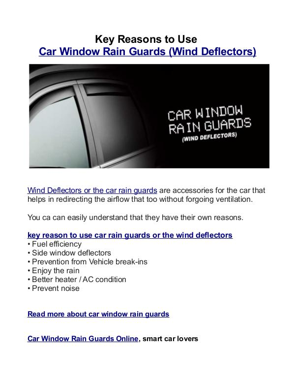 Key Reasons To Use Car Window Rain Guards (Wind Deflectors) 666