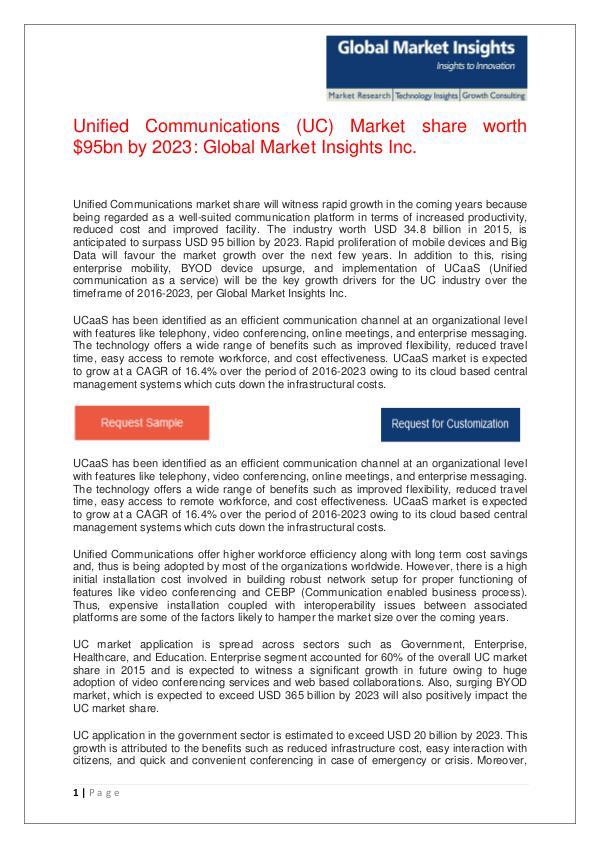 Unified Communications (UC) Market share worth $95bn by 2023 Unified Communications (UC) Market share revenue