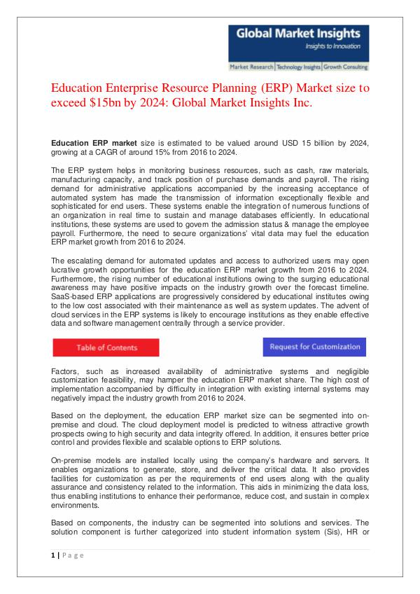 Education ERP Market size to grow at over 15% CAGR from 2016 to 2024 Education ERP Market size to grow at over 15% CAGR