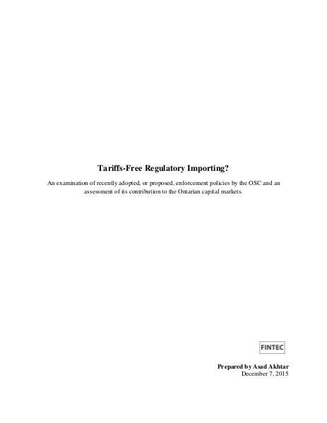Tariffs-Free Regulatory Importing? Jul. 2016