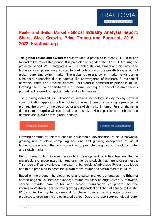 Router and Switch Market – Global Industry Analysis Report by 2022 Global Industry Analysis Report, Share, Size, 2022