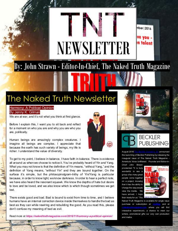 The Naked Truth Newsletter November 16th, 2016