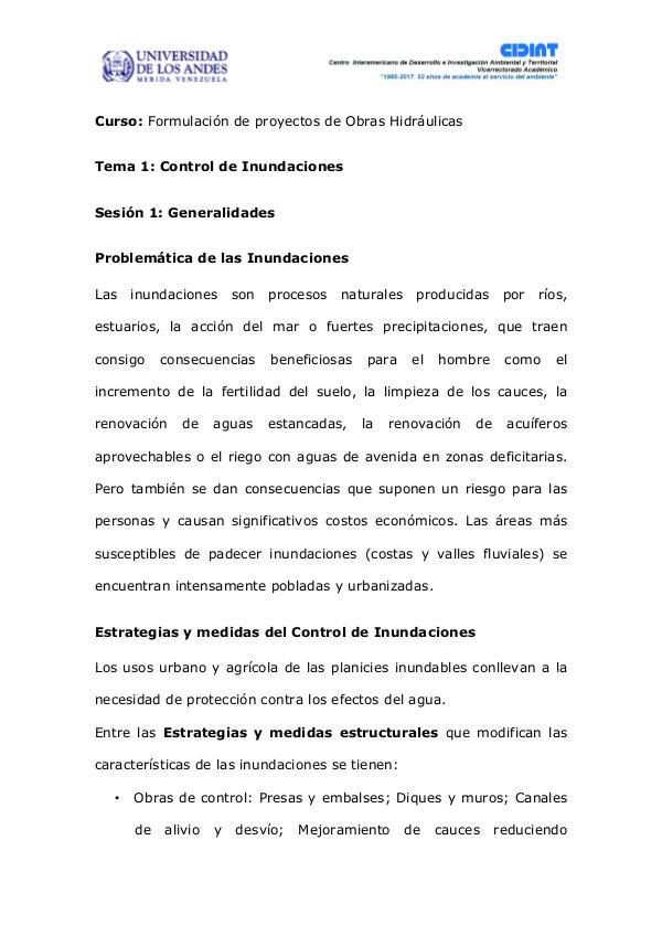 Generalidades del Control de Inundaciones Generalidades del Control de Inundaciones