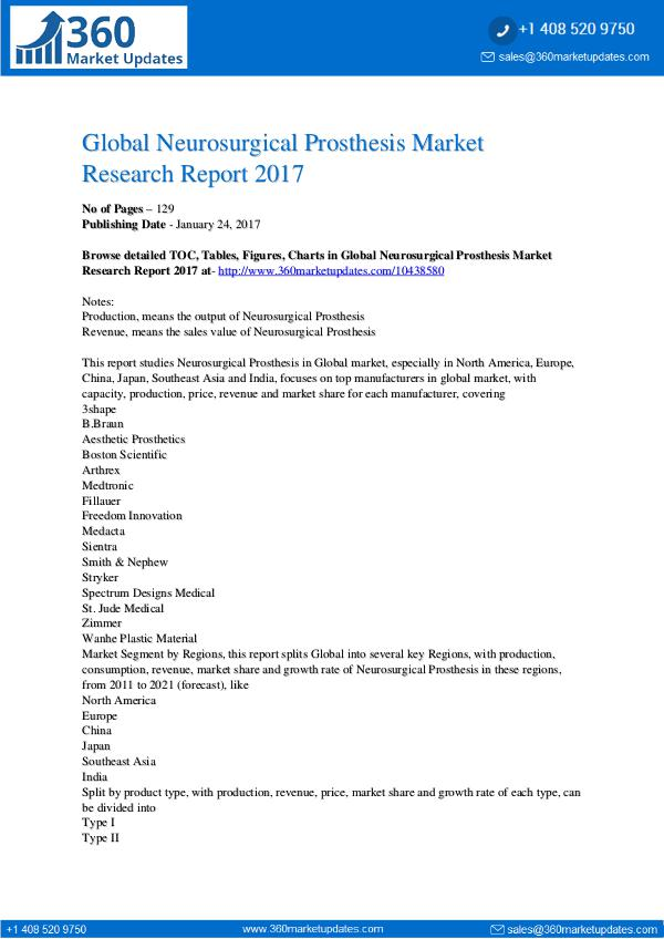Reports- Neurosurgical Prosthesis Market Outlook 2022