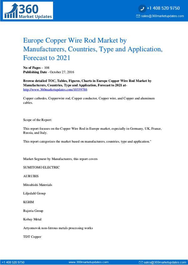 Reports- Copper Wire Rod Market Research