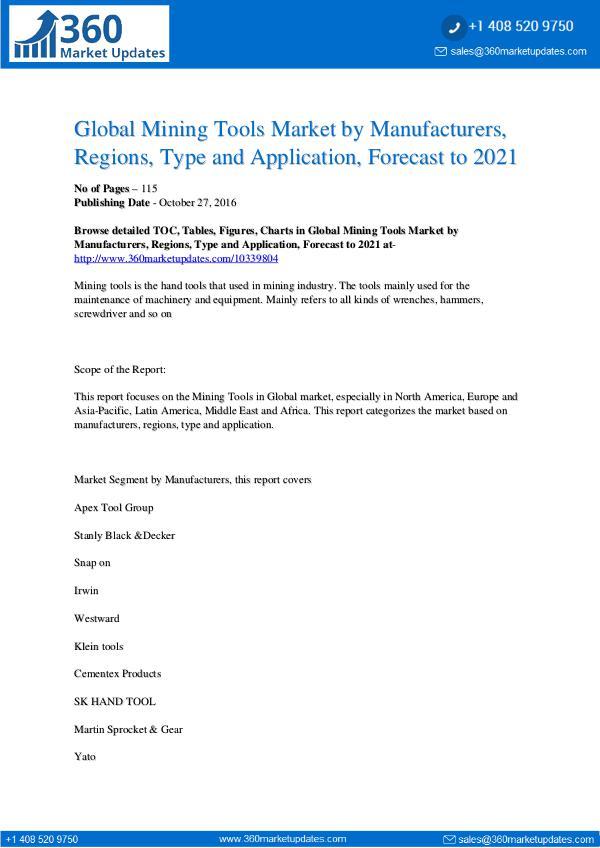 Reports- Mining Tools Market
