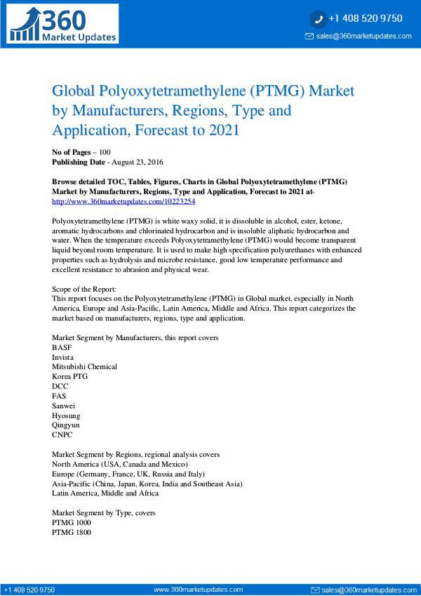 Polyoxytetramethylene Market