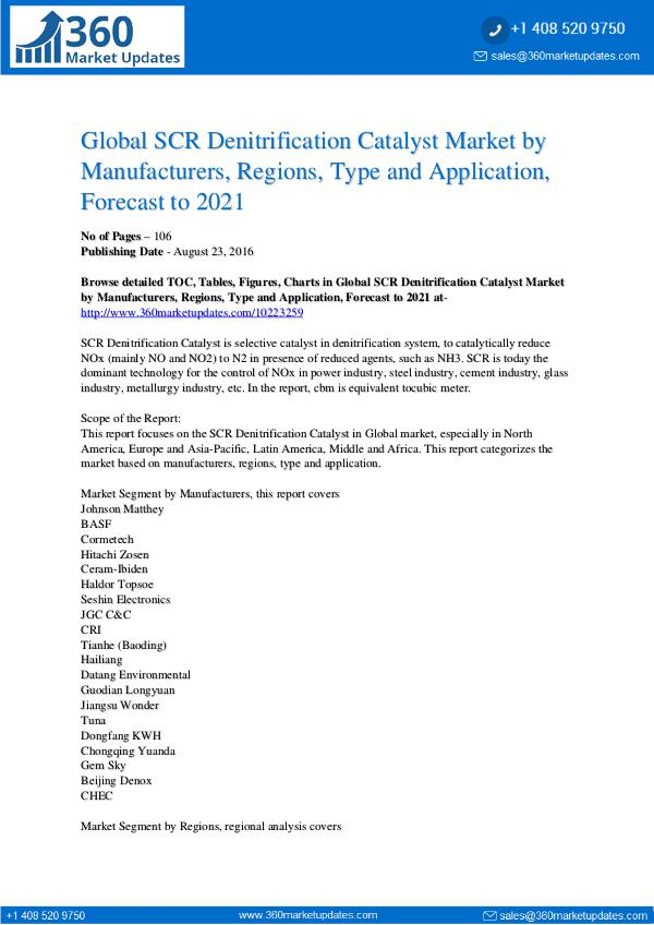 SCR Denitrification Catalyst Market Overview