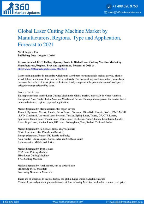 Reports- Laser Cutting Machine Market Research