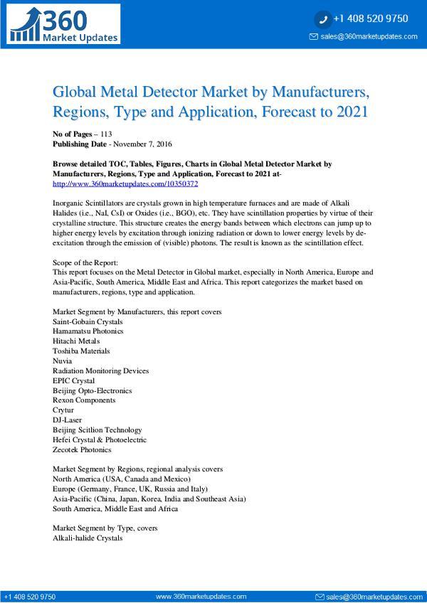 Reports- Metal Detector Market Overview