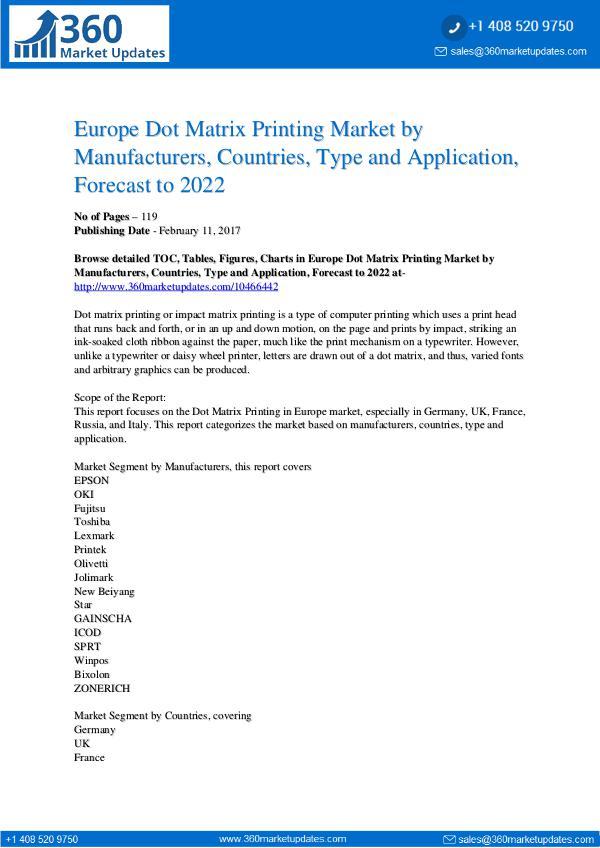 Reports- Dot Matrix Printing Market