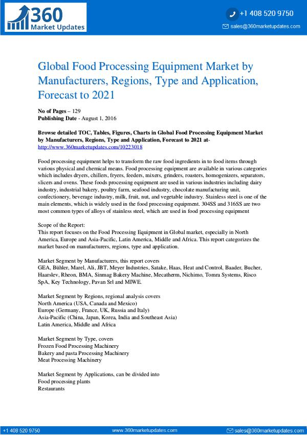 Reports- Food Processing Equipment Market Segmentation