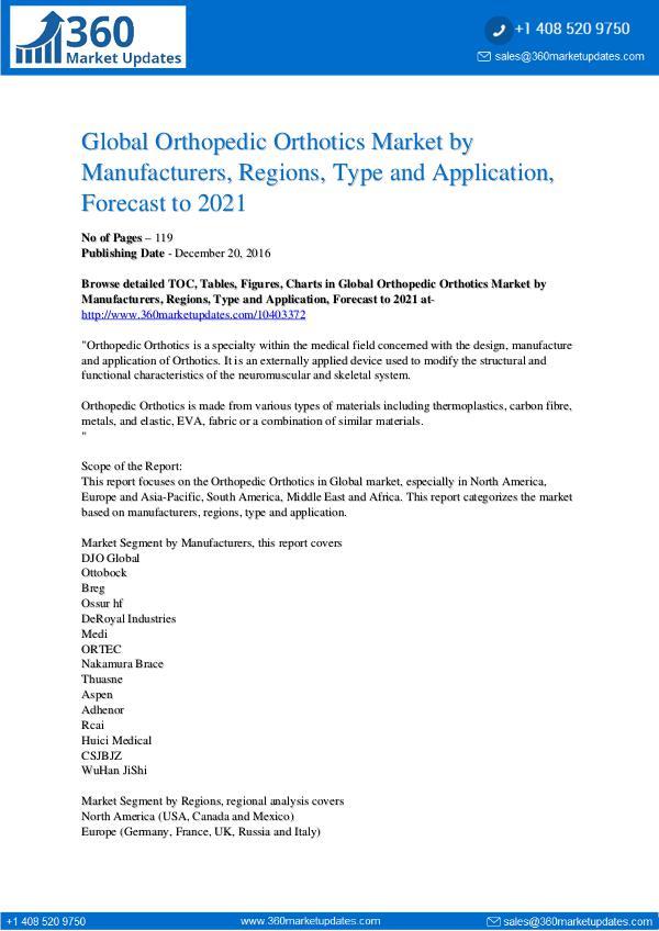 Reports- Orthopedic Orthotics Market