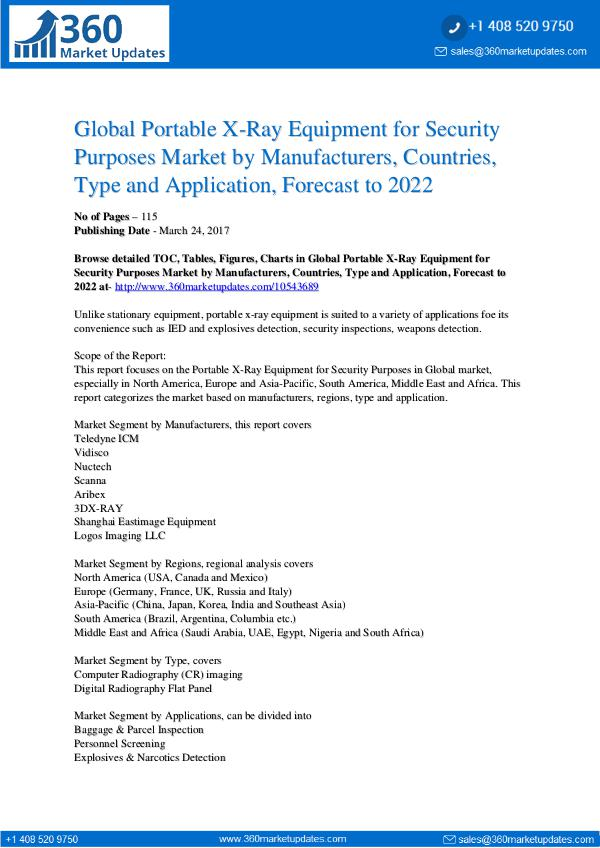 Reports- Portable X-Ray Equipment Security Purposes Market