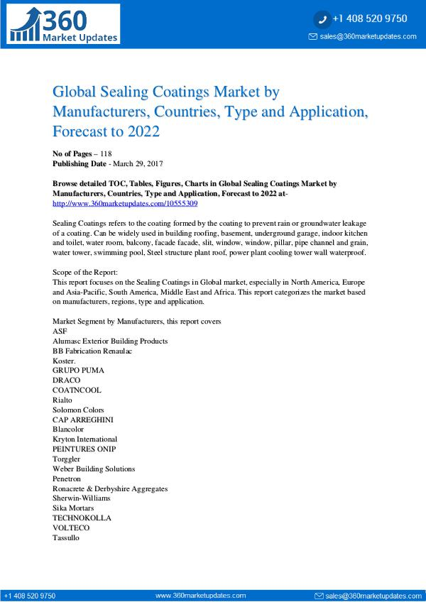 Reports- Sealing Coatings Market Segmentation