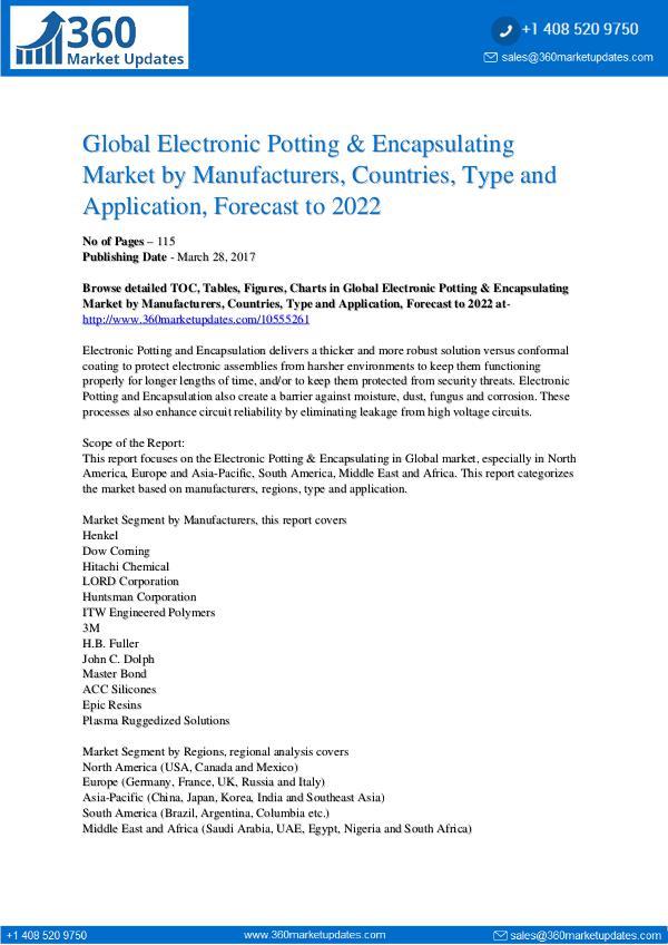Electronic Potting & Encapsulating Market