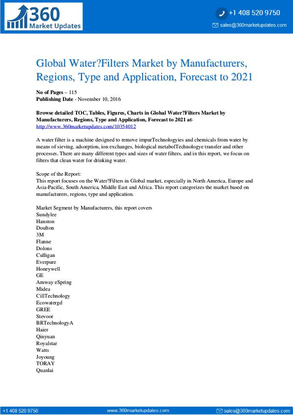 Reports- Water Filters Market