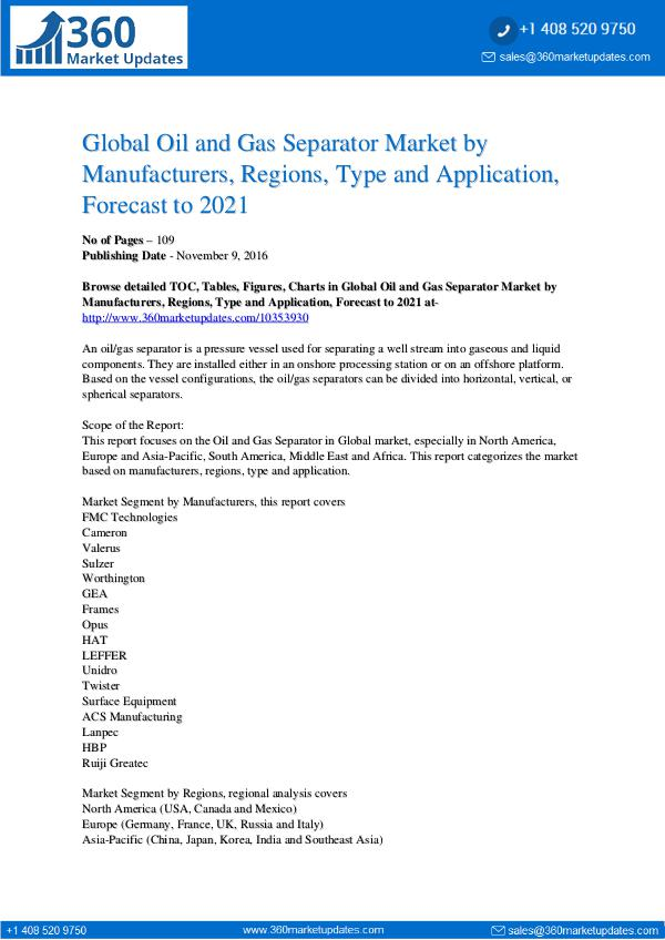 Reports- Oil and Gas Separator Market