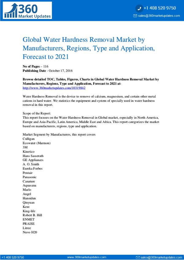 Water Hardness Removal Market Research