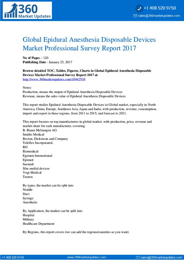 Epidural Anesthesia Disposable Devices Market