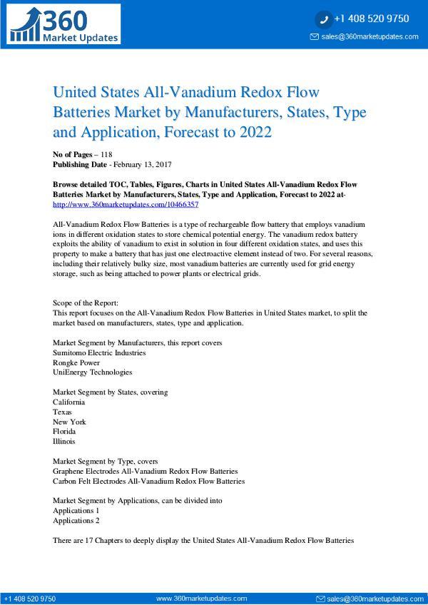 All-Vanadium Redox Flow Batteries Market