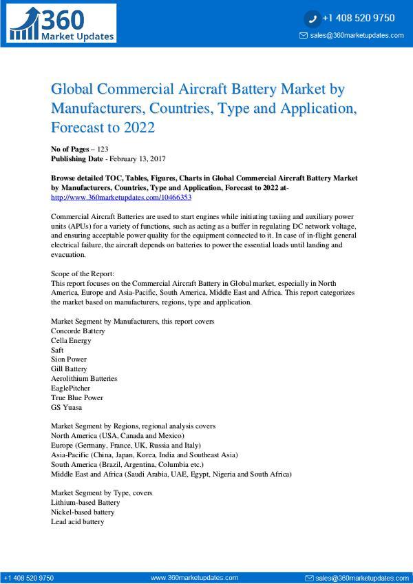 Commercial Aircraft Battery Market Segmentation