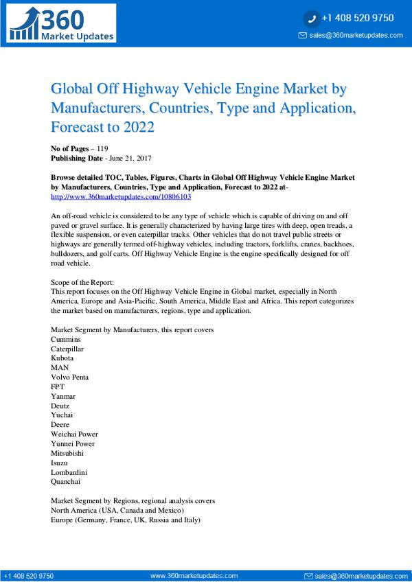 Off Highway Vehicle Engine Market