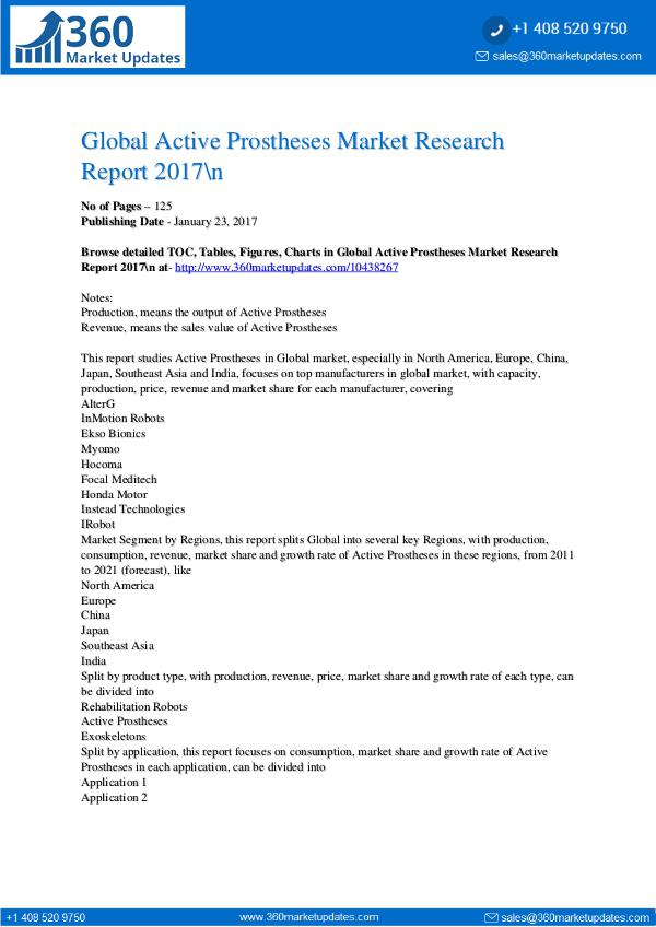 Reports- Active Prostheses Market