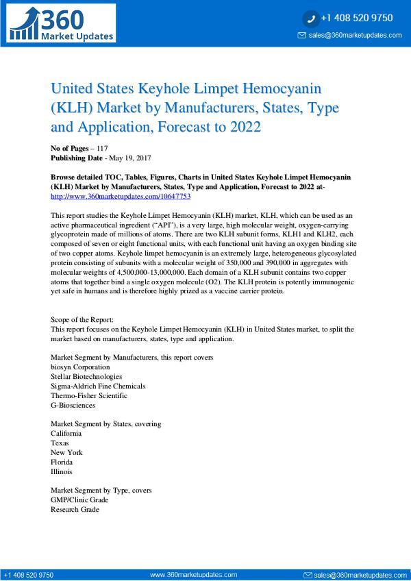 Reports- Keyhole Limpet Hemocyanin (KLH) Market