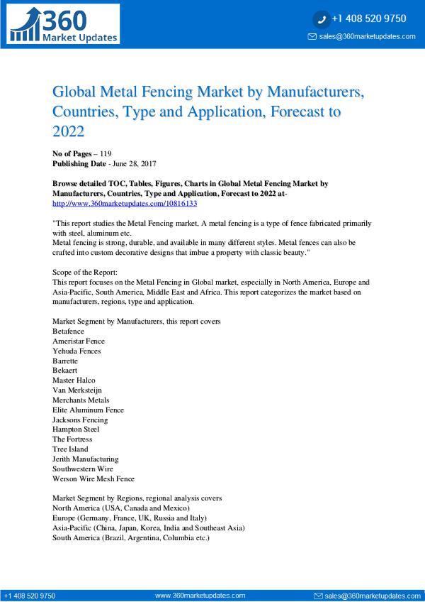 Reports- Metal Fencing Market