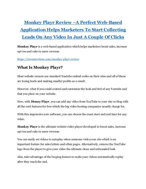 MARKETING Monkey Playr review - Monkey Playr (MEGA) $23,800