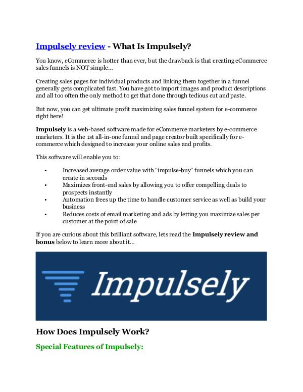 MARKETING Impulsely review in detail – Impulsely Massive bon