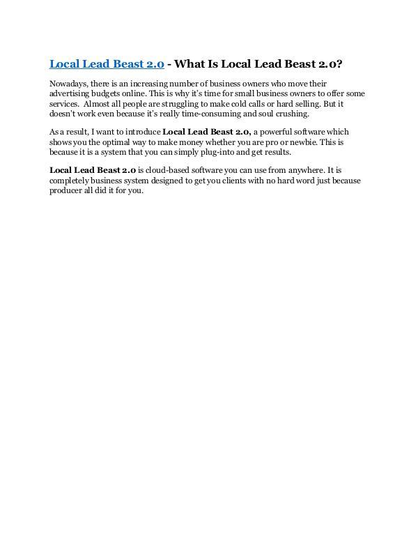 MARKETING Local Lead Beast 2.0 Review and $30000 Bonus - Loc