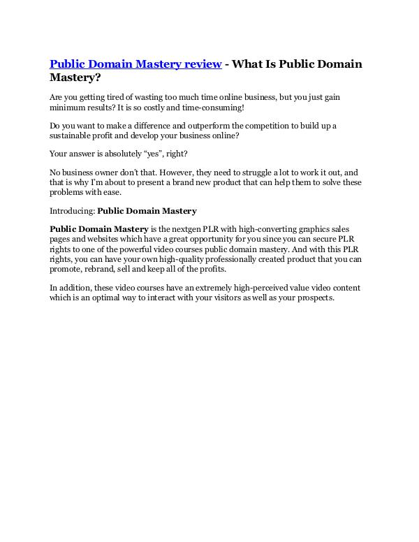 MARKETING Public Domain Mastery Review & HUGE $23800 Bonuses